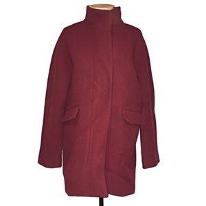 J Crew Burgundy Wool Stadium Cloth Cocoon Coat 10